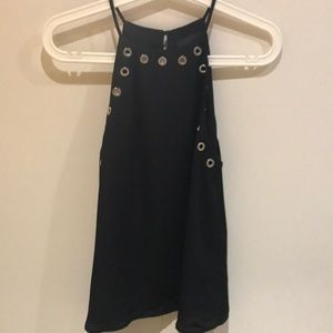 Black high necked sleeveless blouse